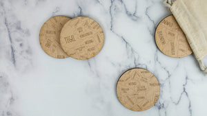 Berlin engraved birch wood coaster set