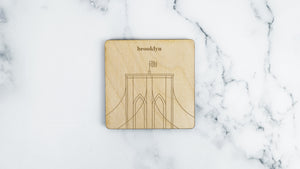 Brooklyn Bridge engraved birch wood landmark coaster