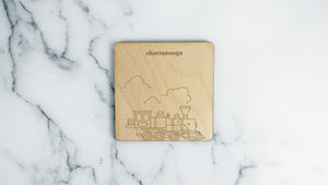 Steam Locomotive engraved birch wood landmark coaster