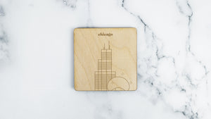 Sears Tower and Cloud Gate engraved birch wood landmark coaster
