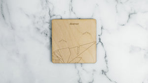 Denver Art Museum engraved birch wood landmark coaster