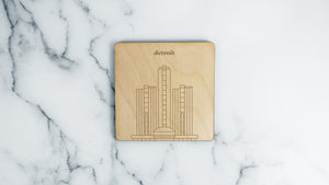 Fisher Building engraved birch wood landmark coaster