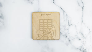 La Grande Vitesse engraved birch wood landmark coaster