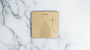 Bank of American Center engraved birch wood landmark coaster