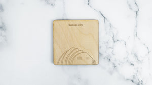 Kauffman Center engraved birch wood landmark coaster