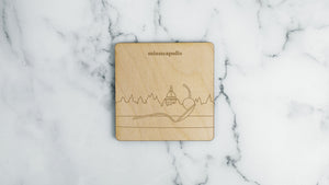 Walker Art Center and Spoon & Cherry engraved birch wood landmark coaster