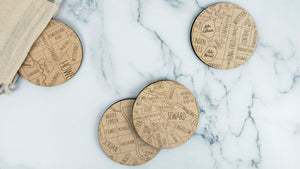 Minneapolis engraved birch wood coaster set