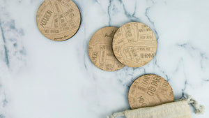 New Orleans engraved birch wood coaster set