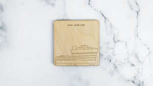 Guggenheim Museum engraved birch wood landmark coaster