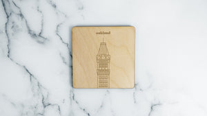 Tribune Tower engraved birch wood landmark coaster