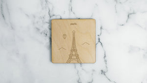 Eiffel Tower engraved birch wood landmark coaster