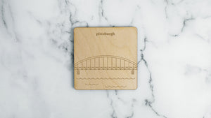 Fort Duquesne Bridge engraved birch wood landmark coaster