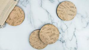 Pittsburgh engraved birch wood coaster set