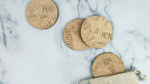 Roma engraved birch wood coaster set