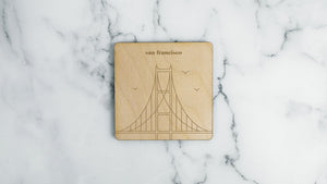Golden Gate Bridge engraved birch wood landmark coaster