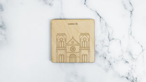 Cathedral Basilica of St. Francis engraved birch wood landmark coaster