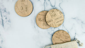 St. Paul engraved birch wood coaster set