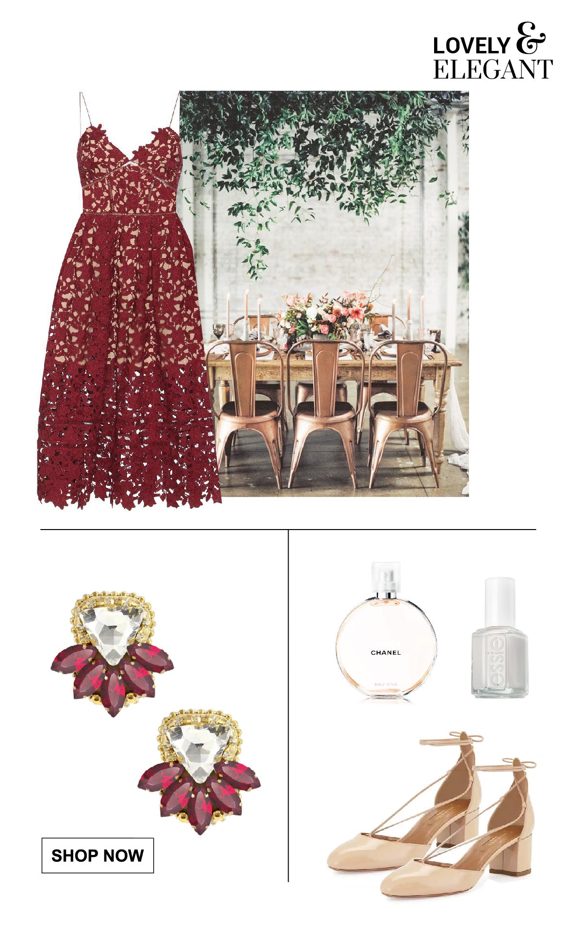 Charming and elegant attire for ladies of a vintage wedding.