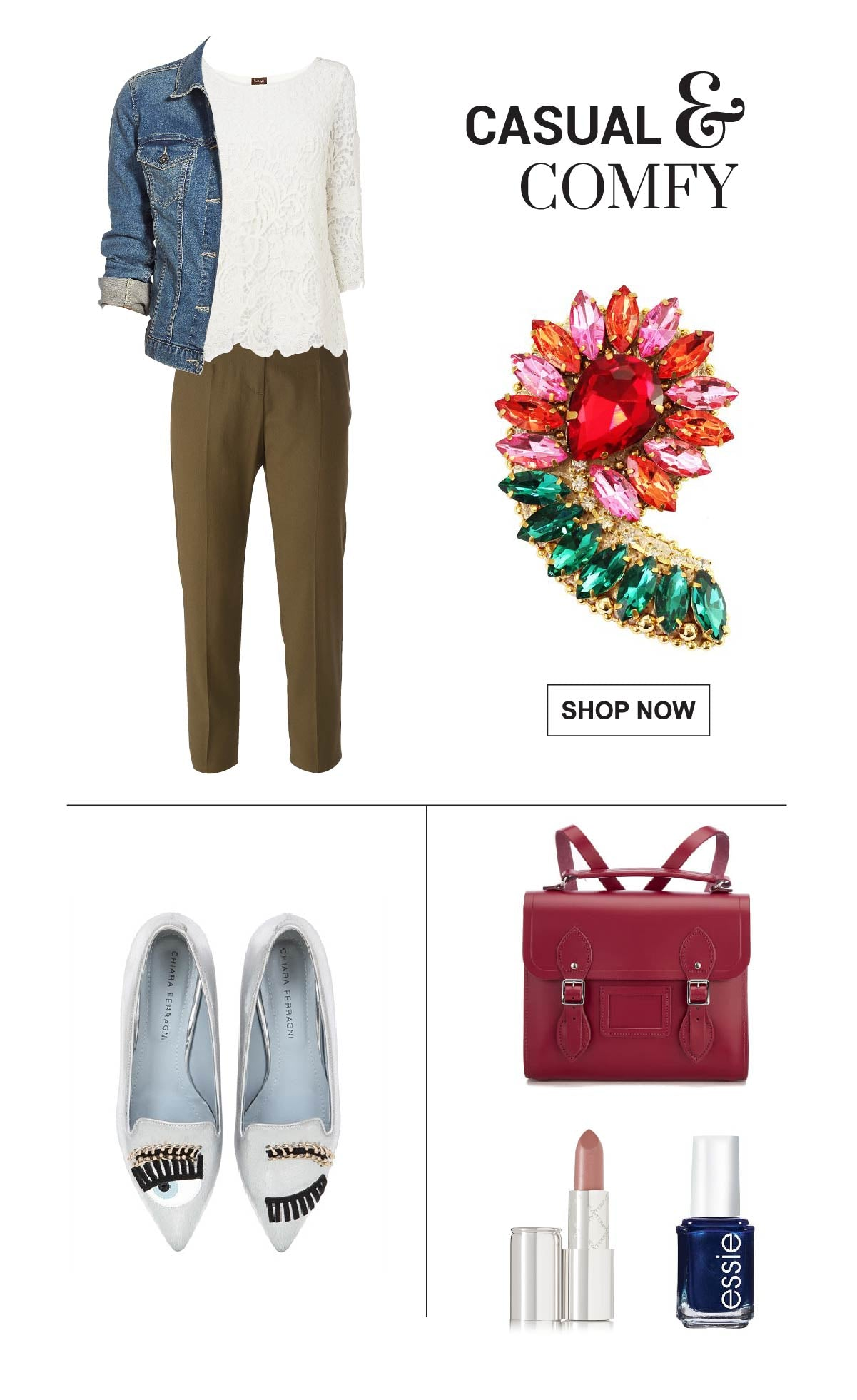 Casual Fall outfit wearing a floral brooch