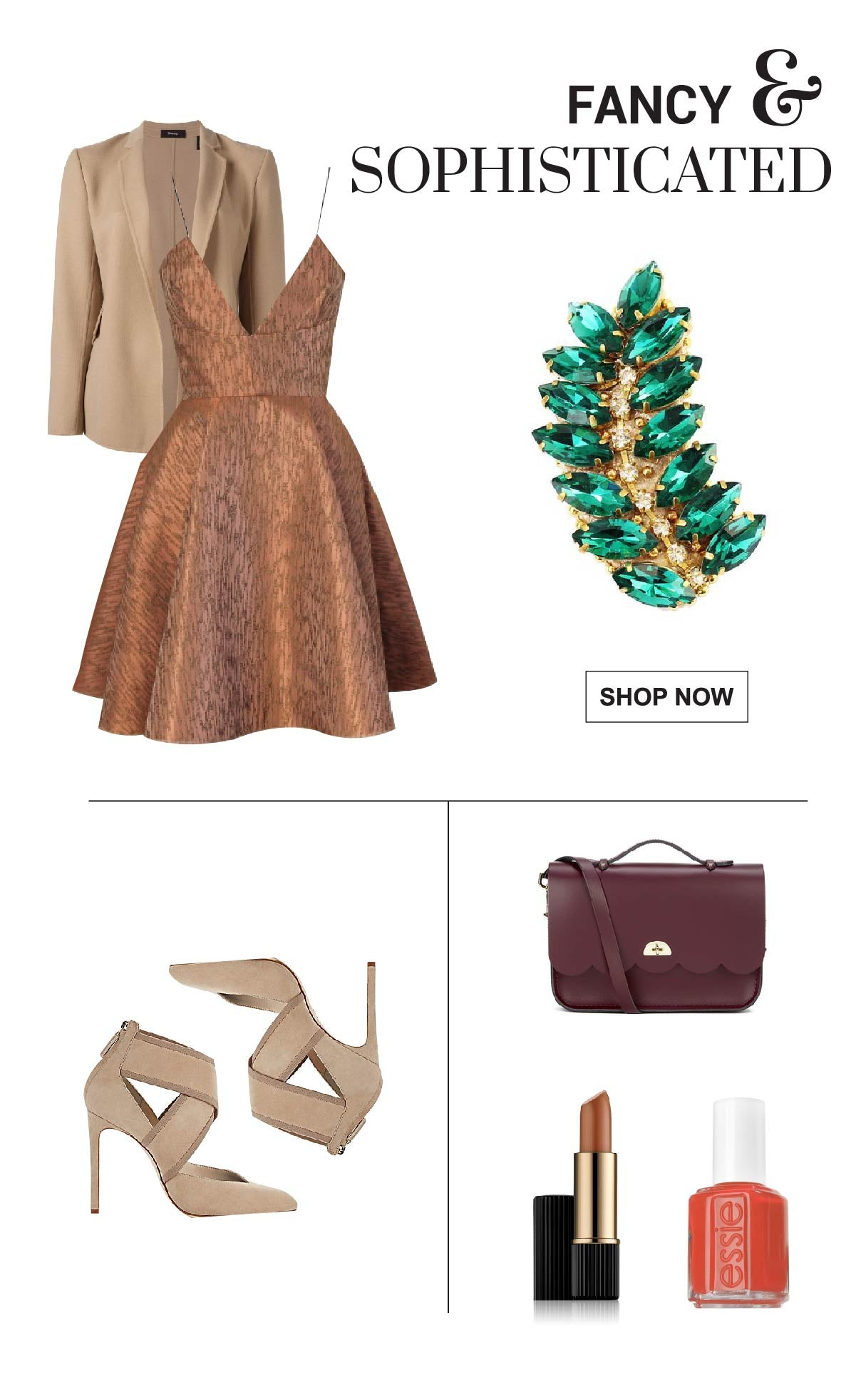 Fancy fall outfit wearing a leaf brooch.