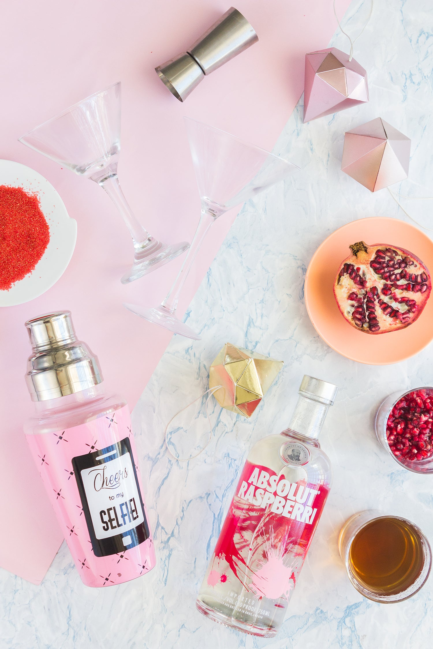 Ingredients for a delicious holiday cosmopolitan.