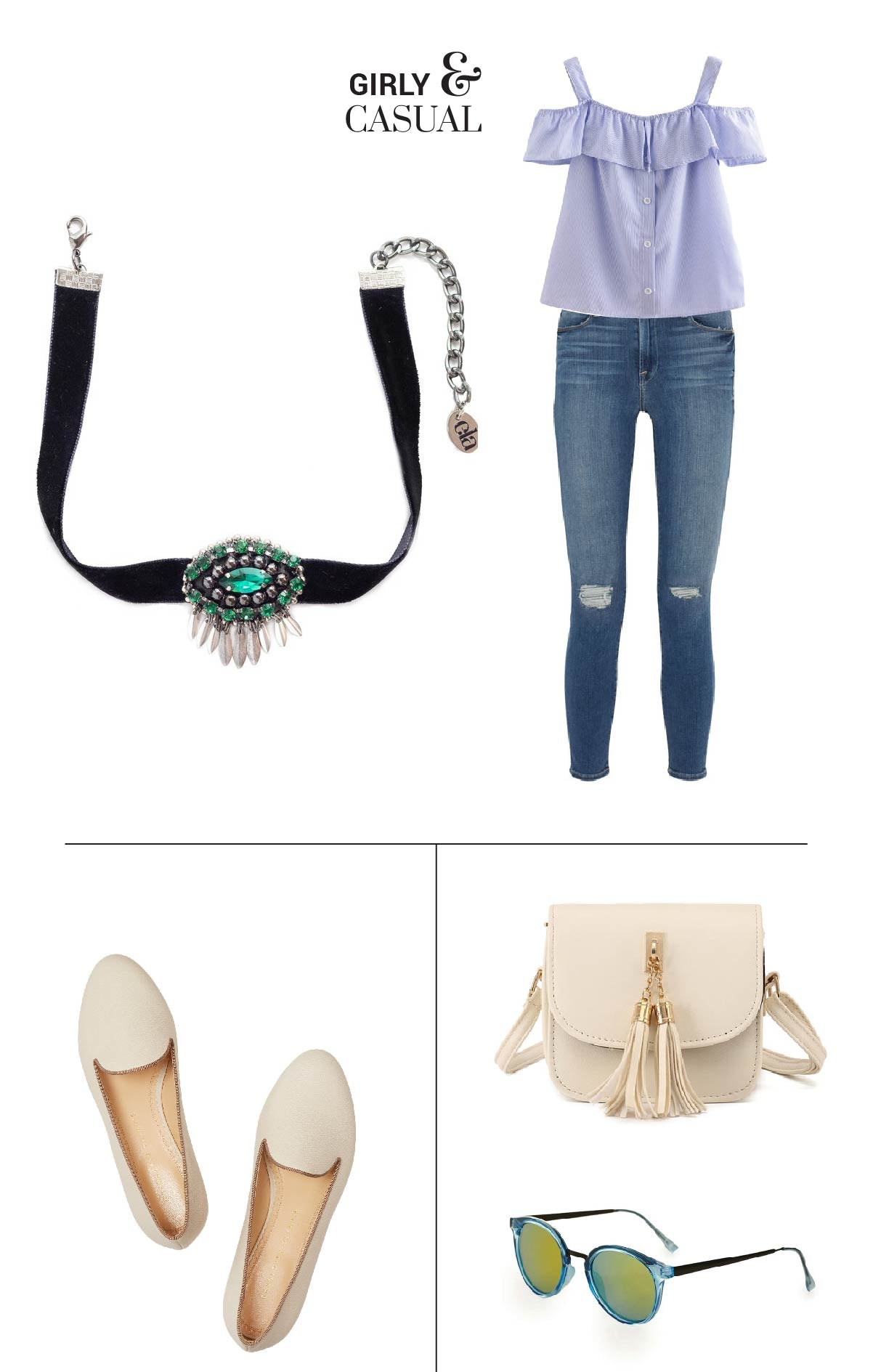 How to style a choker necklace - Combine this choker necklace with your outfit to match your girly and casual style!