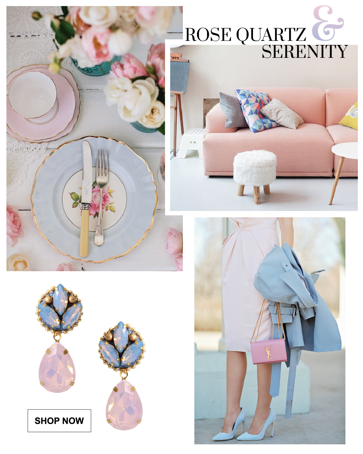 This year the Pantone color of the year are Rose Quartz and Serenity. These teardrop earrings use both colors, they are perfect for any occasion making them a versatile pair that can be both casual and formal.