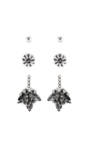 Silver Crystal Ear Jackets - 4 in 1 earrings