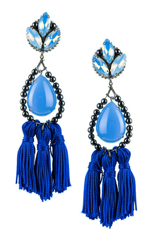 Kira Blue Tassels Earrings | Aretes de Borlas Azul
