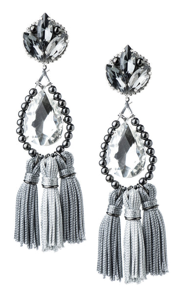 Kira Silver Grey Tassels Earrings | Aretes de Borlas Gris y Plateado