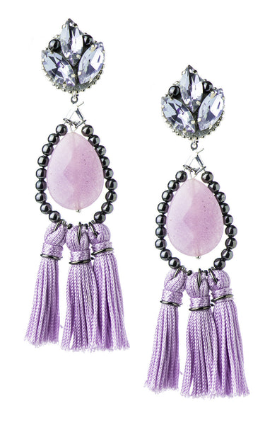 Kira Lilac Tassels Earrings | Aretes de Borlas Lila - Ela Design Studio