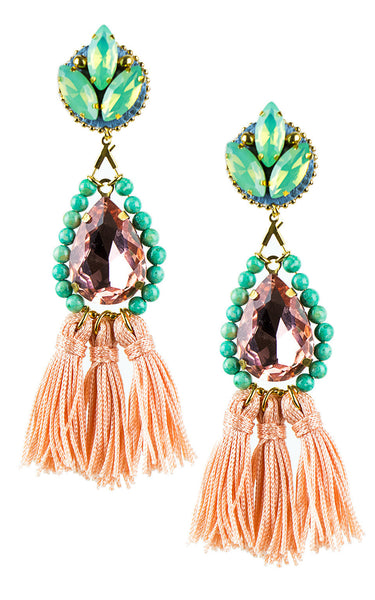 Kira Coral and Mint Tassels Earrings | Aretes de Borlas Coral y Mint