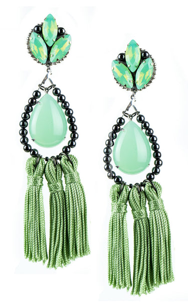 Kira Mint Tassels Earrings | Aretes de Borlas Verde Mint