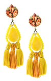 Kira Orange and Yellow Tassels Earrings | Aretes de Borlas Amarillo y Naranja