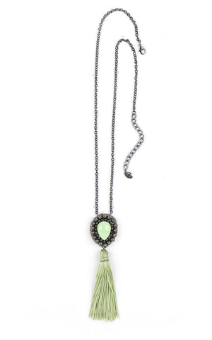 Maia Mint Tassel Pendant Necklace | Collar Colgante de Borla Mint - Ela Design Studio