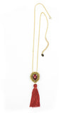Maia Red Tassel Pendant Necklace | Collar Colgante de Borla Roja