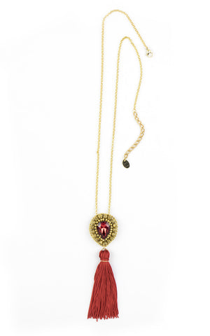 Maia Red Tassel Pendant Necklace | Collar Colgante de Borla Roja - Ela Design Studio