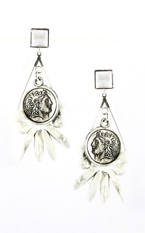 Myri White Earrings