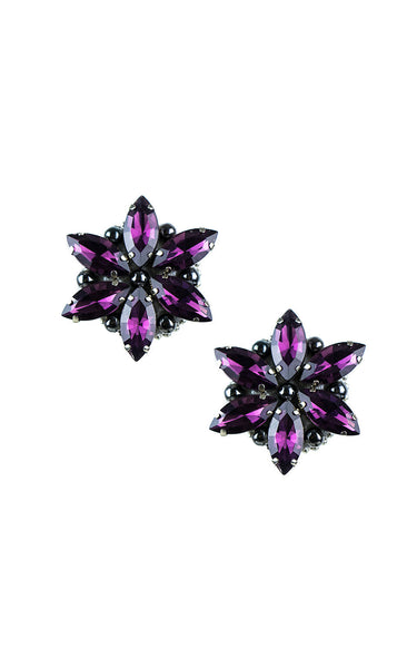 Rossie Purple Clip-on Earrings | Aretes de presión Rossie Violeta