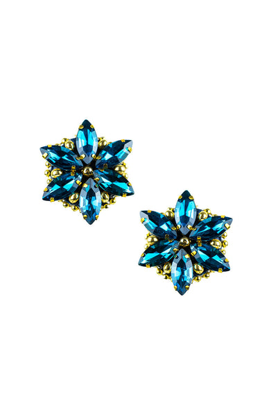 Rossie Blue Teal Clip-on Earrings | Aretes de presión Rossie Azul Turquesa