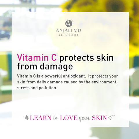 Vitamin C is an antioxidant, protects skin from damage from free radicals