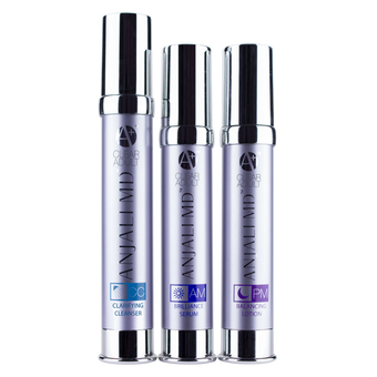 ANJALI MD Adult Acne System for Severe Adult Acne. 3 tall chrome bottles with a light purple tint to the body. From left to right: Clarifying Cleanser, AM Brilliance Serum and PM Balancing Lotion. The bottles have chrome logos. that say A+ CLEAR ADULT as well as the ANJALI MD logo in chrome.