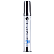 ANJALI MD Exfoliating Cleanser for Teen Acne. A tall chrome bottle with chrome cap. ANJALI MD and A+ CLEAR in chrome on the front. The Name in blue with EC and a shower icon