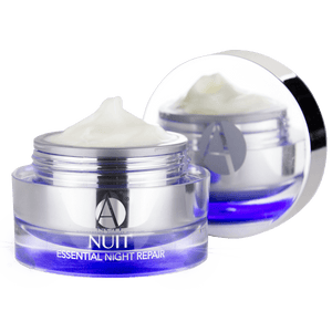 ANJALI MD Brightening Retinol Night Cream. A chrome jar with a blue glow at the bottom. Cream peaking out of a jar with the cap off and to the side