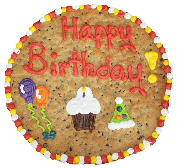 "12"" Round Happy Birthday Giant Cookie Cake by Cookiegrams.com"
