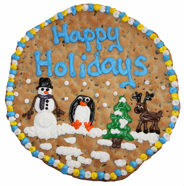 "16"" Happy Holiday Round Cookie with Custom Logo / Art by cookiegrams.com"