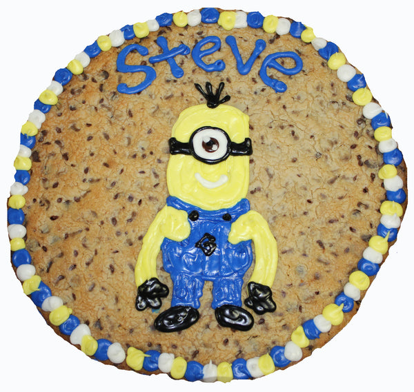 "14"" Minion Giant Cookie Cake with Custom Art by cookiegrams.com"