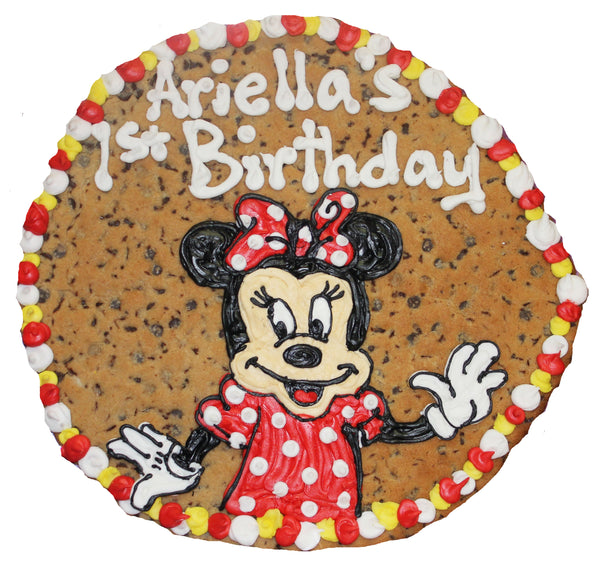 "16"" Round Mini Mouse Giant Cookie with Custom Art by cookiegrams.com"