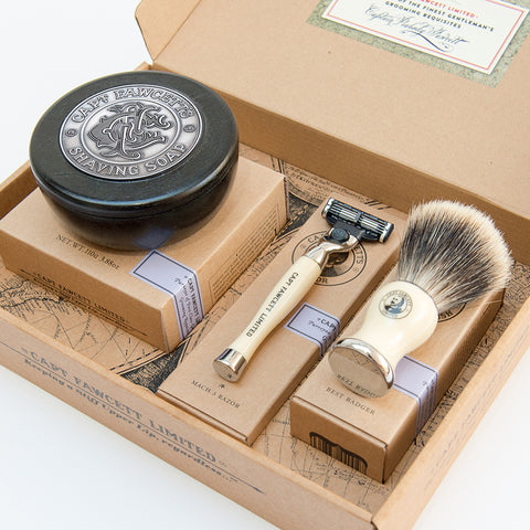 Shaving Brush, Razor and Shaving Soap Gift Set