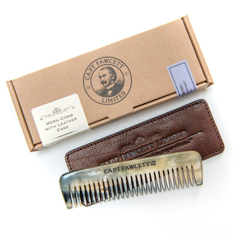 Horn Beard Comb with Leather Case - Limited Edition